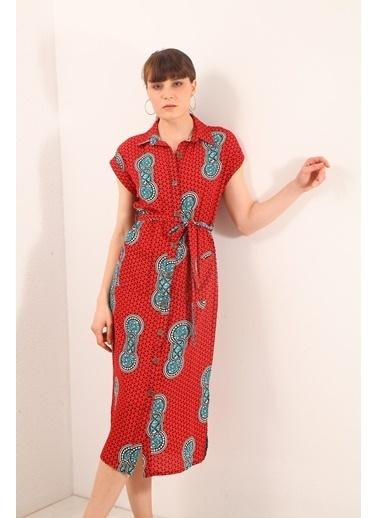 Reyon Desenli Çift Cep Krep Elbise Kırmızı Kırmızı